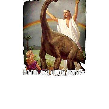 Noah shooing away dinosaurs funny atheist meme gift shirt by Johannesart