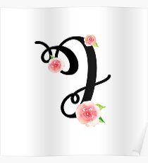 Monogram J with pretty pink roses Poster