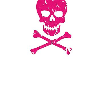 Skull and cross bones jolly roger pirate Pink distressed goth rebel rockabilly grunge gift distressed t shirt by Johannesart