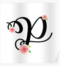 Monogram P with pretty pink roses Poster