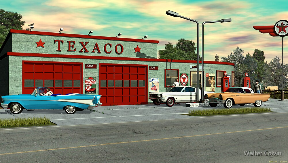 Quot 1960 S Texaco Gas Station Quot By Walter Colvin Redbubble