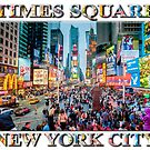 Times Square Tourists (poster on white) by Ray Warren