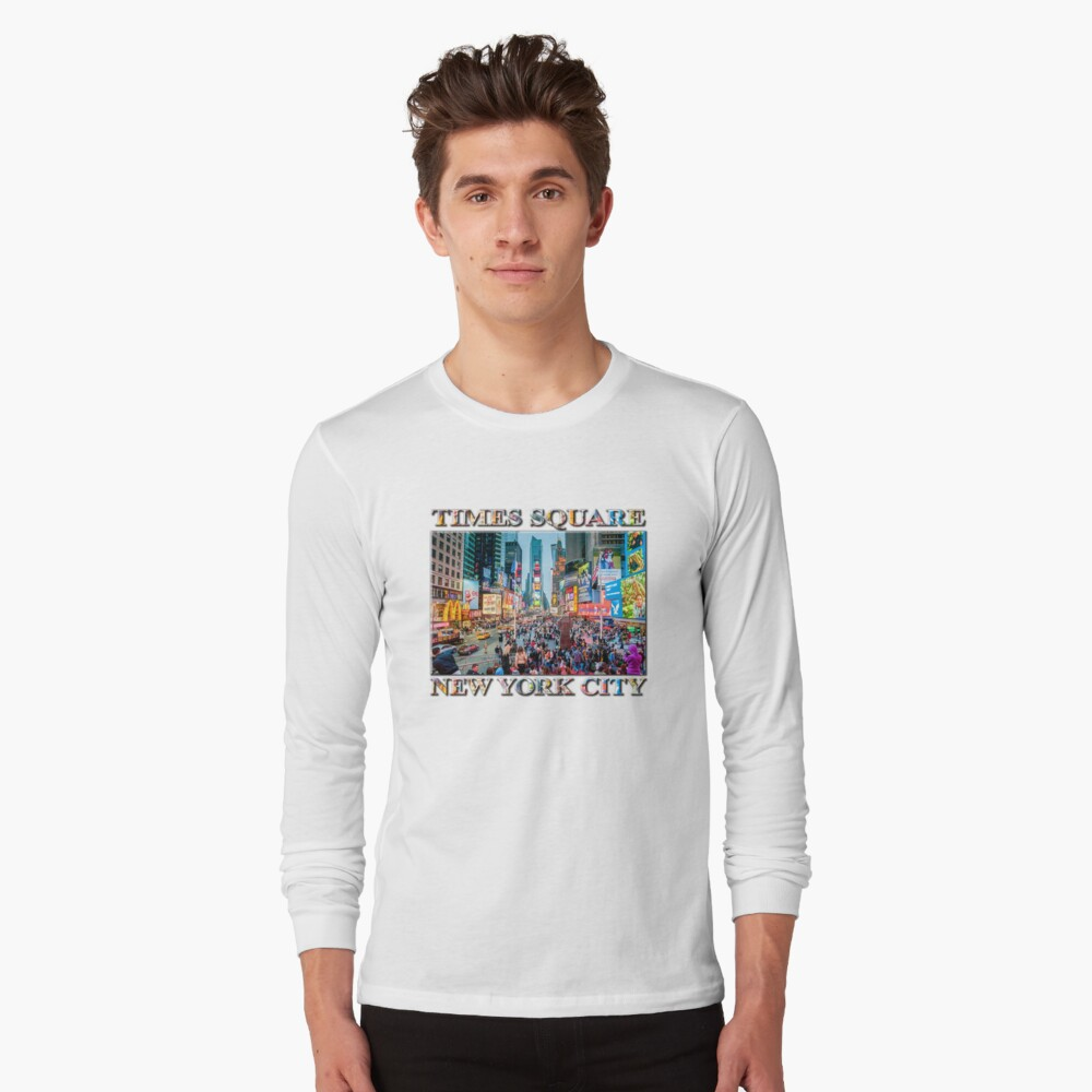 Times Square Tourists (poster on white) Long Sleeve T-Shirt