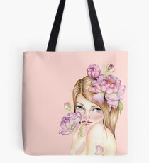 Nymph girl with peonies in her hair art design Tote Bag