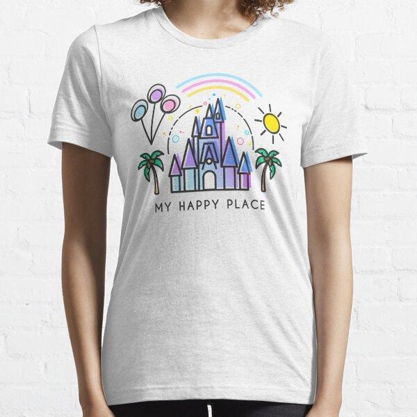 My Happy Place Vector Art Illustration. Magic Princess Castle World. Florida theme park land. Essential T-Shirt