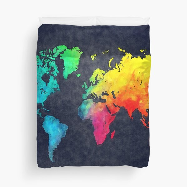 world map watercolor 6 #map #worldmap Duvet Cover