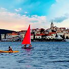 Bright sails in Korcula by Nancy Richard
