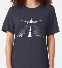Airplane Phonetic Alphabet | Pilot Gift Slim Fit T-Shirt