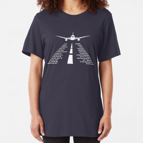 Airplane Phonetic Alphabet | Pilot Gift Slim Fit T-Shirt