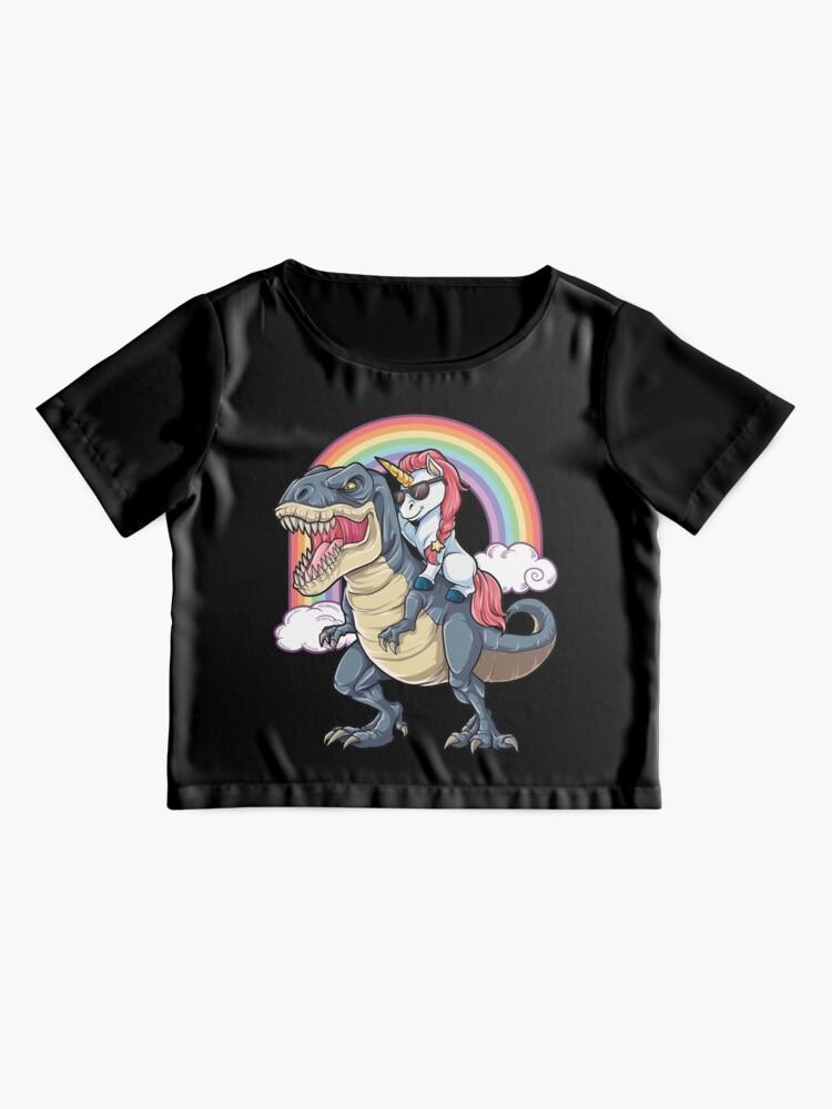 Alternate view of Unicorn Riding Dinosaur T Shirt T-Rex Funny Unicorns Party Rainbow Squad Gifts for Kids Boys Girls Chiffon Top