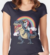 Unicorn Riding Dinosaur T Shirt T-Rex Funny Unicorns Party Rainbow Squad Gifts for Kids Boys Girls Women's Fitted Scoop T-Shirt