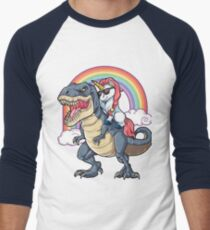 Unicorn Riding Dinosaur T Shirt T-Rex Funny Unicorns Party Rainbow Squad Gifts for Kids Boys Girls Men's Baseball ¾ T-Shirt