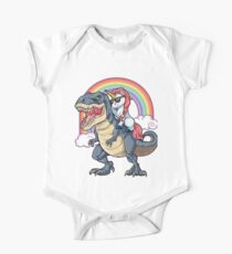 Body de manga corta para bebé Unicornio Riding Dinosaurio T-shirt T-Rex Divertido Unicornios Partido Rainbow Squad Regalos para Niños Niños Niñas