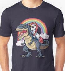 Unicorn Riding Dinosaur T Shirt T-Rex Funny Unicorns Party Rainbow Squad Gifts for Kids Boys Girls Slim Fit T-Shirt