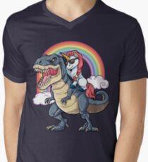 Unicorn Riding Dinosaur T Shirt T-Rex Funny Unicorns Party Rainbow Squad Gifts for Kids Boys Girls Men's V-Neck T-Shirt