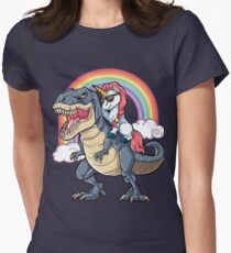 Unicorn Riding Dinosaur T Shirt T-Rex Funny Unicorns Party Rainbow Squad Gifts for Kids Boys Girls Women's Fitted T-Shirt