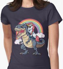 Camiseta entallada para mujer Unicornio Riding Dinosaurio T-shirt T-Rex Divertido Unicornios Partido Rainbow Squad Regalos para Niños Niños Niñas