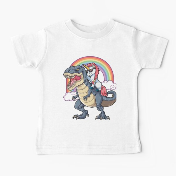 Unicorn Riding Dinosaur T Shirt T-Rex Funny Unicorns Party Rainbow Squad Gifts for Kids Boys Girls Baby T-Shirt
