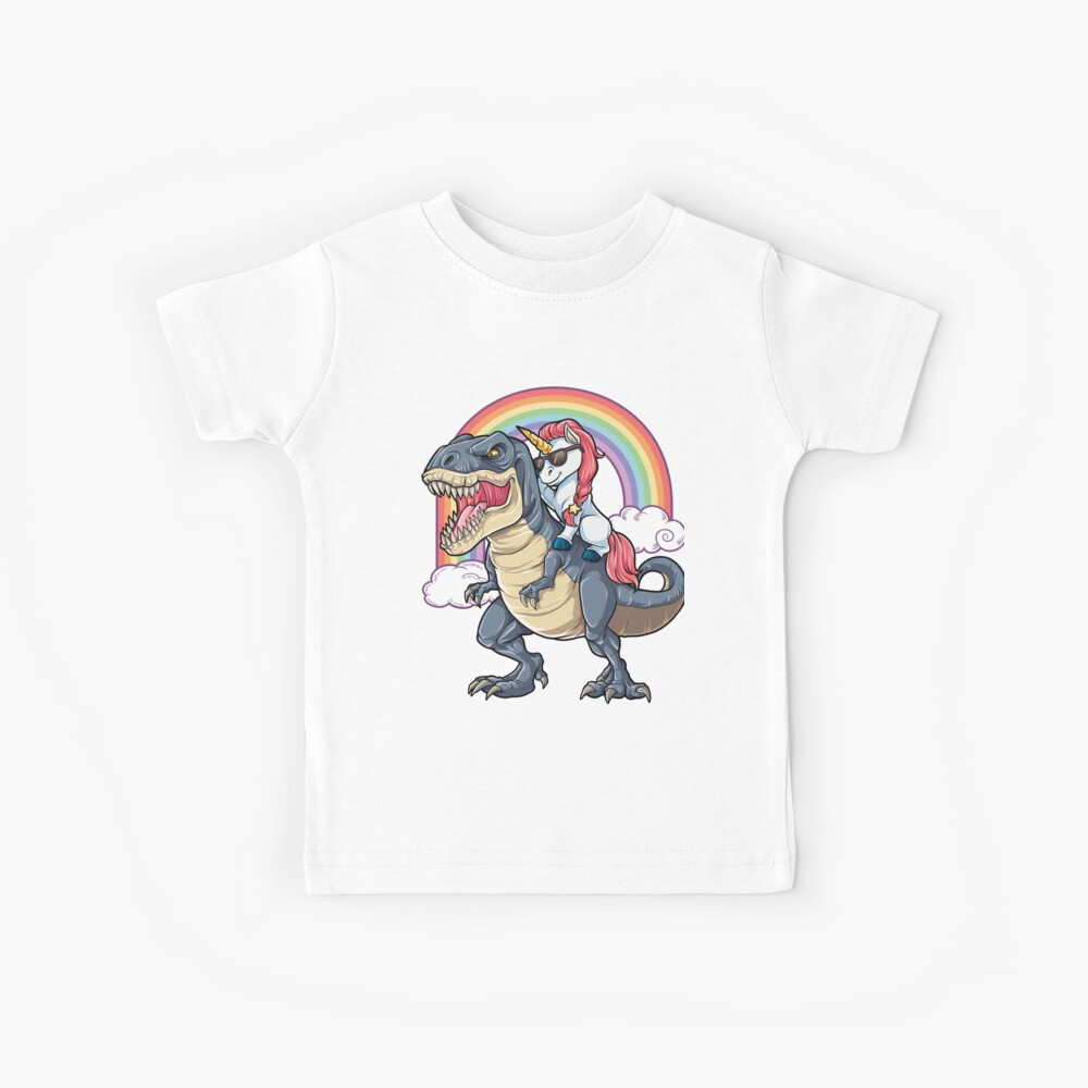Unicorn Riding Dinosaur T Shirt T-Rex Funny Unicorns Party Rainbow Squad Gifts for Kids Boys Girls Kids T-Shirt