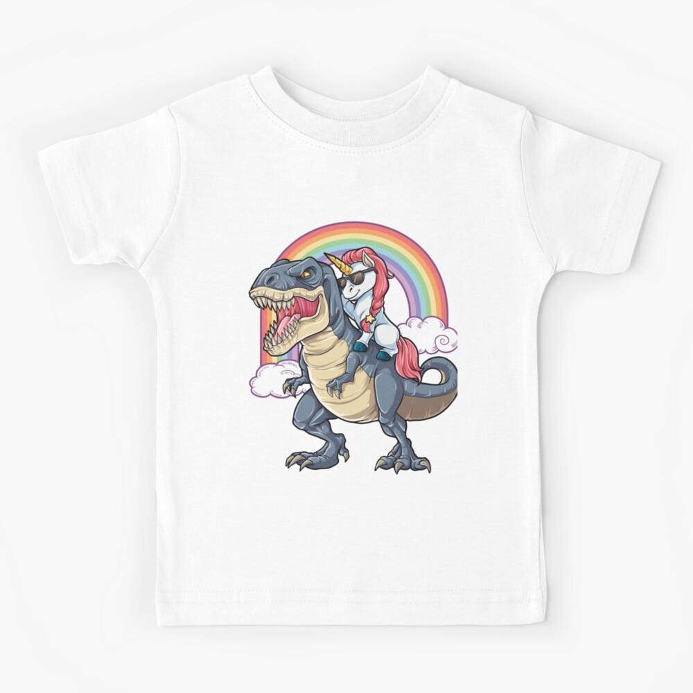 Unicorn Riding Dinosaur T Shirt T-Rex Funny Unicorns Party Rainbow Squad Gifts for Kids Boys Girls Kids T-Shirt