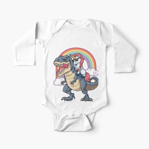 Unicorn Riding Dinosaur T Shirt T-Rex Funny Unicorns Party Rainbow Squad Gifts for Kids Boys Girls Long Sleeve Baby One-Piece