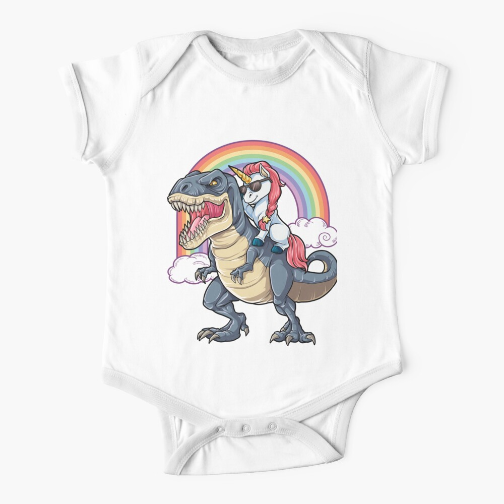 Unicorn Riding Dinosaur T Shirt T-Rex Funny Unicorns Party Rainbow Squad Gifts for Kids Boys Girls Baby One-Piece