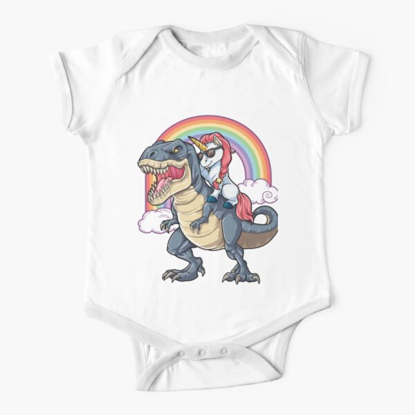 Unicorn Riding Dinosaur T Shirt T-Rex Funny Unicorns Party Rainbow Squad Gifts for Kids Boys Girls Short Sleeve Baby One-Piece
