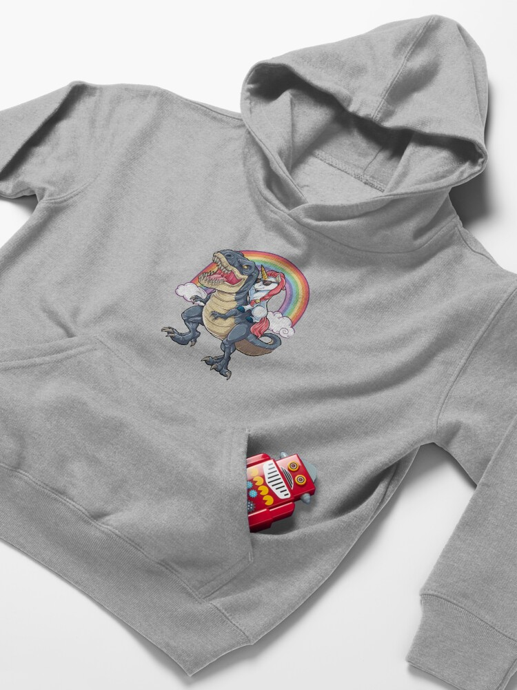 Alternate view of Unicorn Riding Dinosaur T Shirt T-Rex Funny Unicorns Party Rainbow Squad Gifts for Kids Boys Girls Kids Pullover Hoodie
