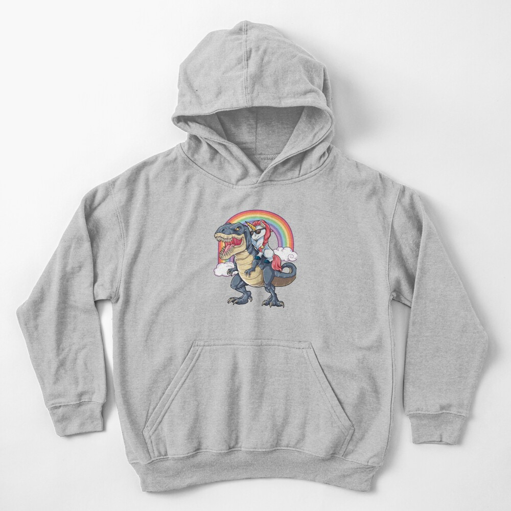 Unicorn Riding Dinosaur T Shirt T-Rex Funny Unicorns Party Rainbow Squad Gifts for Kids Boys Girls Kids Pullover Hoodie
