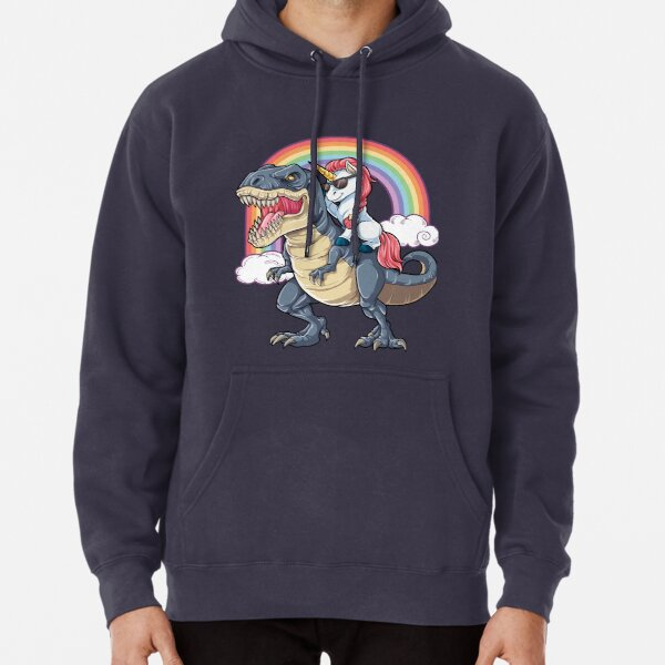 Unicorn Riding Dinosaur T Shirt T-Rex Funny Unicorns Party Rainbow Squad Gifts for Kids Boys Girls Pullover Hoodie