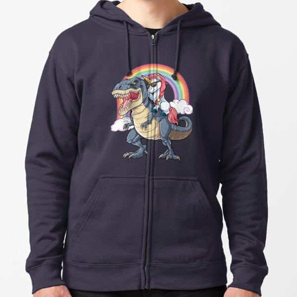 Unicorn Riding Dinosaur T Shirt T-Rex Funny Unicorns Party Rainbow Squad Gifts for Kids Boys Girls Zipped Hoodie