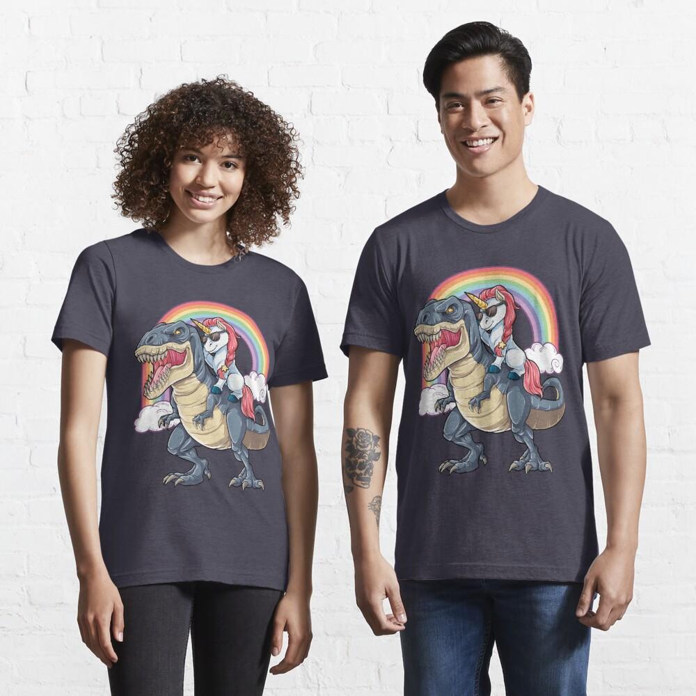 T-shirt essentiel «Licorne équitation dinosaure T-shirt T-Rex drôle licornes fête arc-en-ciel cadeaux pour enfants garçons filles»