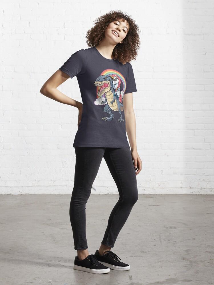 T-shirt essentiel ''Licorne équitation dinosaure T-shirt T-Rex drôle licornes fête arc-en-ciel cadeaux pour enfants garçons filles': autre vue