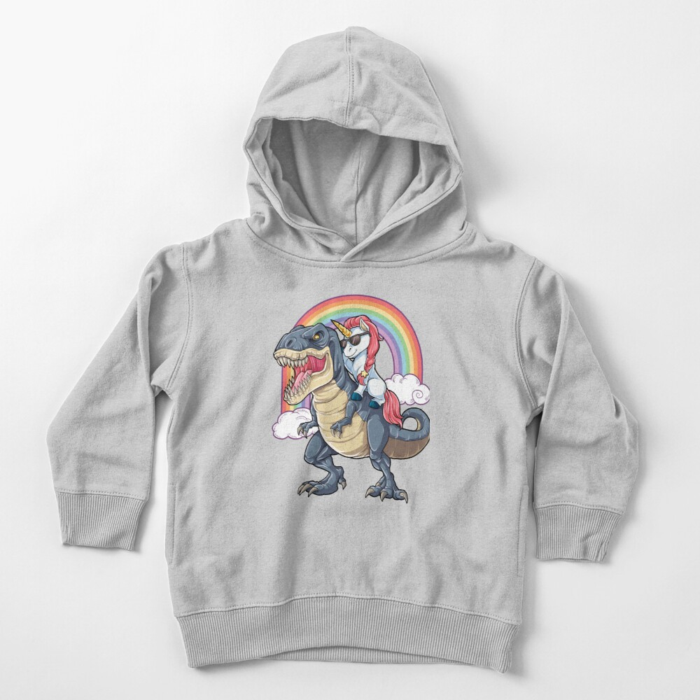 Unicorn Riding Dinosaur T Shirt T-Rex Funny Unicorns Party Rainbow Squad Gifts for Kids Boys Girls Toddler Pullover Hoodie