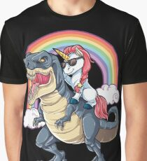 Unicorn Riding Dinosaur T Shirt T-Rex Funny Unicorns Party Rainbow Squad Gifts for Kids Boys Girls Graphic T-Shirt