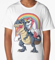 Unicorn Riding Dinosaur T Shirt T-Rex Funny Unicorns Party Rainbow Squad Gifts for Kids Boys Girls Long T-Shirt