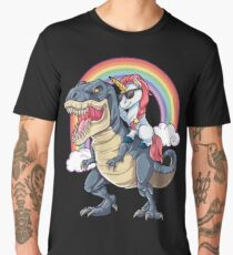 Unicorn Riding Dinosaur T Shirt T-Rex Funny Unicorns Party Rainbow Squad Gifts for Kids Boys Girls Men's Premium T-Shirt