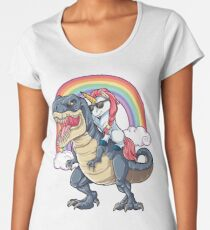 Unicorn Riding Dinosaur T Shirt T-Rex Funny Unicorns Party Rainbow Squad Gifts for Kids Boys Girls Women's Premium T-Shirt
