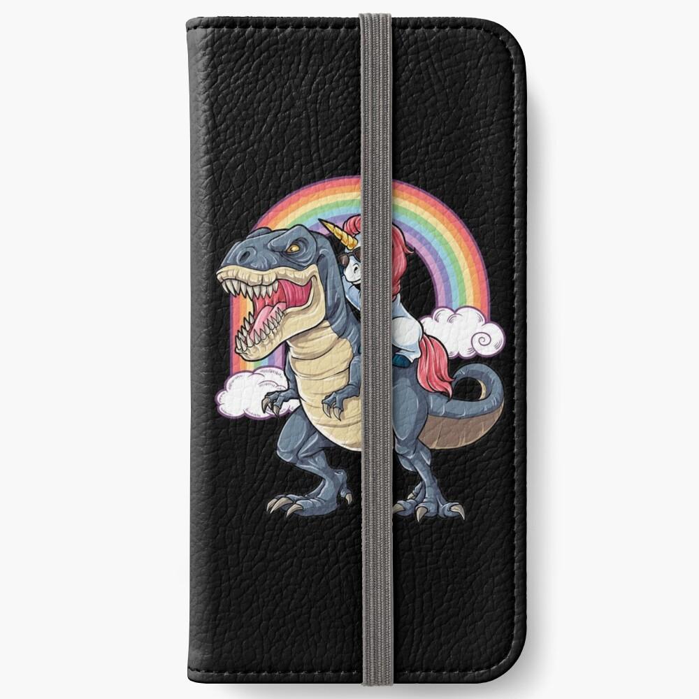 Unicorn Riding Dinosaur T Shirt T-Rex Funny Unicorns Party Rainbow Squad Gifts for Kids Boys Girls iPhone Wallet