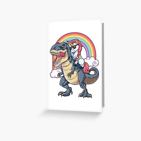 Einhorn Reiten Dinosaurier T-Shirt T-Rex Lustige Einhörner Party Regenbogen Squad Geschenke für Kinder Jungen Mädchen Grußkarte