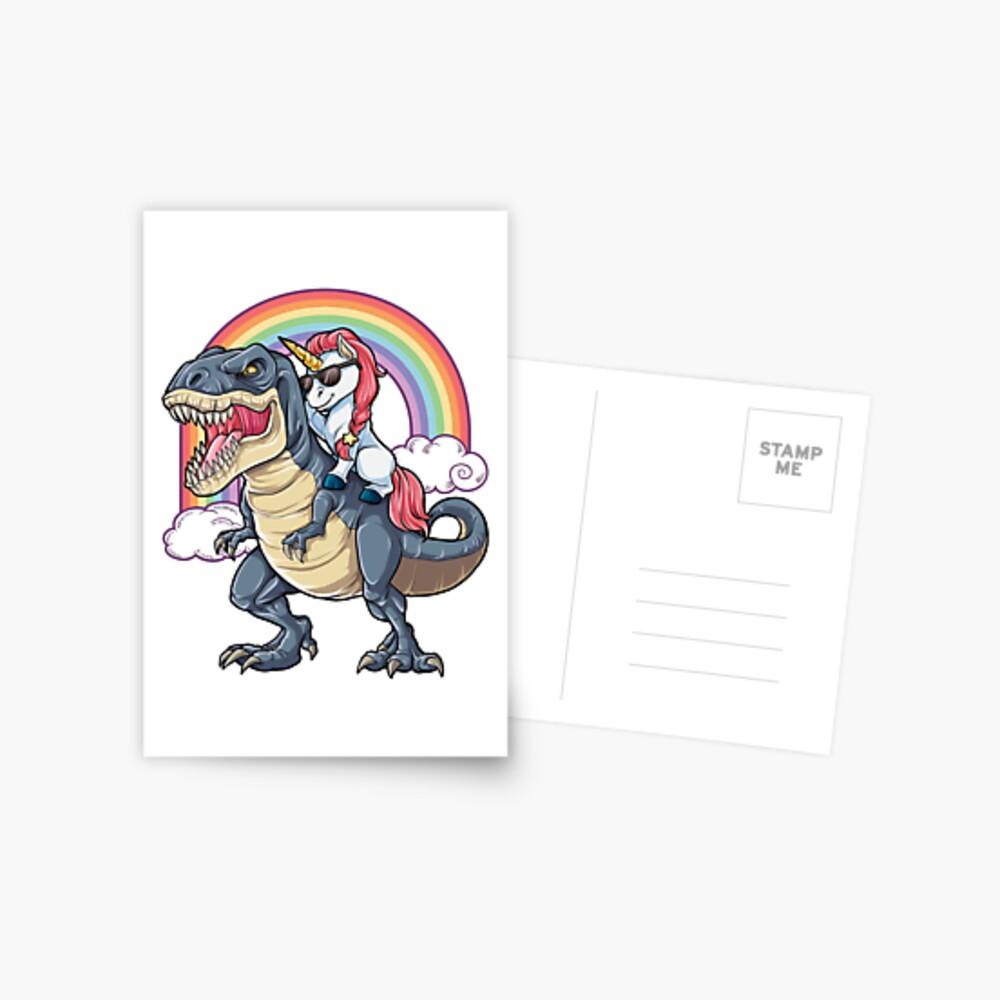 Unicorn Riding Dinosaur T Shirt T-Rex Funny Unicorns Party Rainbow Squad Gifts for Kids Boys Girls Postcard