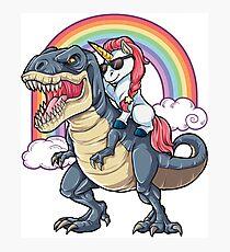 Unicorn Riding Dinosaur T Shirt T-Rex Funny Unicorns Party Rainbow Squad Gifts for Kids Boys Girls Photographic Print