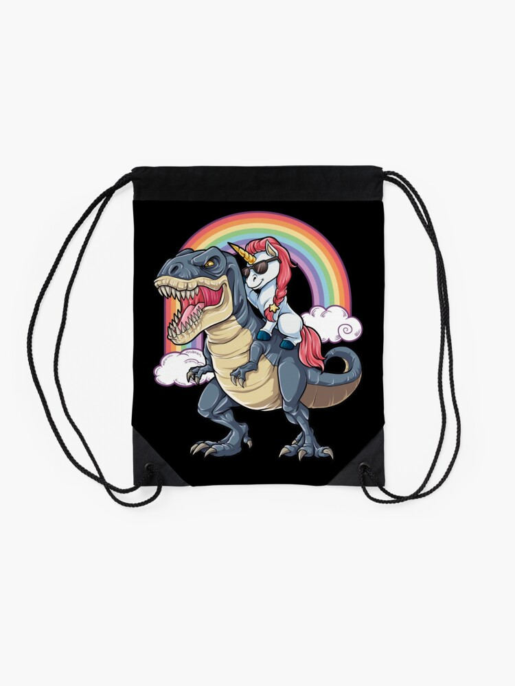 Alternate view of Unicorn Riding Dinosaur T Shirt T-Rex Funny Unicorns Party Rainbow Squad Gifts for Kids Boys Girls Drawstring Bag