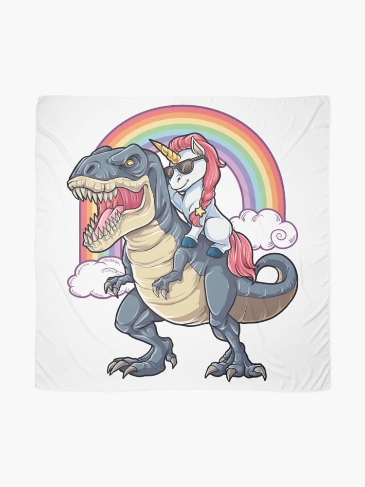 Alternate view of Unicorn Riding Dinosaur T Shirt T-Rex Funny Unicorns Party Rainbow Squad Gifts for Kids Boys Girls Scarf