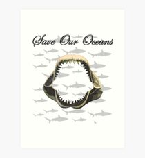 Shark Jaw - Save Our Oceans Art Print