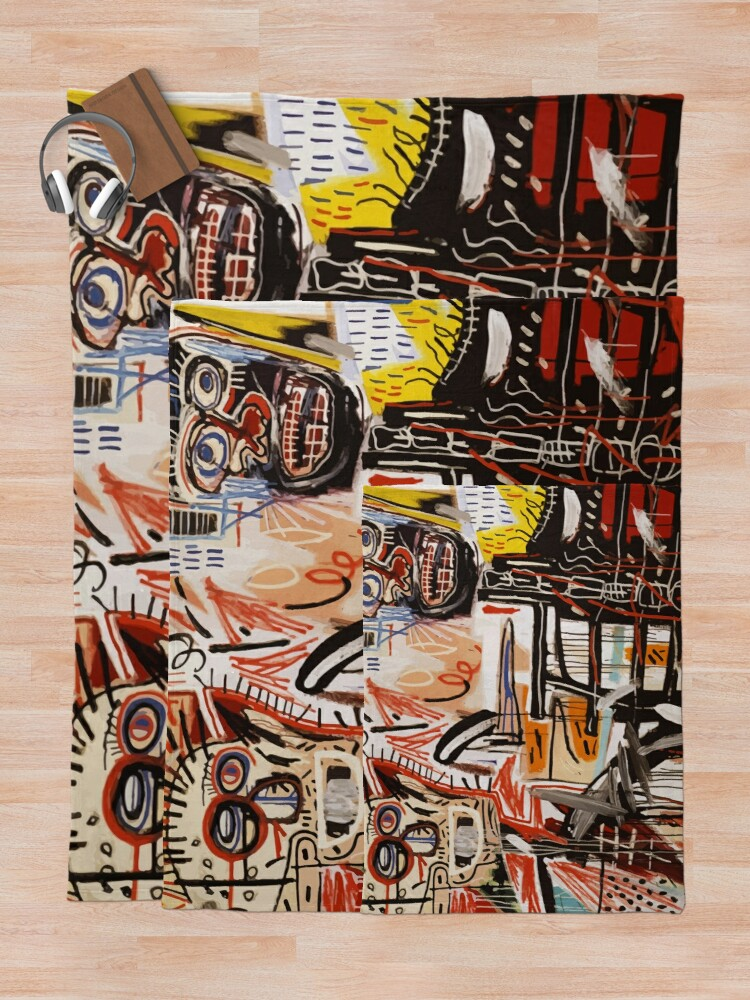 Alternate view of A vectorised Basquiat Throw Blanket