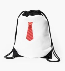 Red Neck Tie Emoji Drawstring Bag