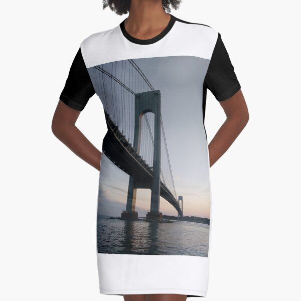 New York, New York City, Brooklyn, #NewYork, #NewYorkCity, #Brooklyn, Verrazano-Narrows Bridge, #VerrazanoNarrowsBridge, #VerrazanoBridge, #bridge, #Verrazano, #Narrows, Verrazano-Narrows Bridge Graphic T-Shirt Dress