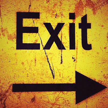 Exit sign on a yellow grunge background	 by Yomanow