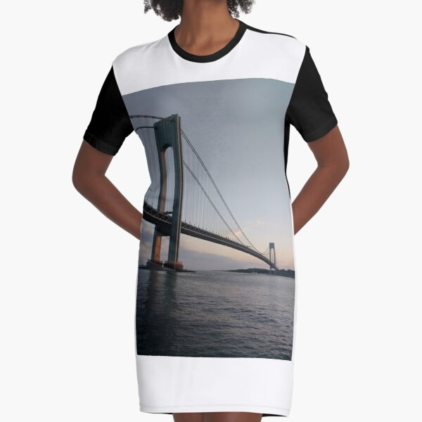 New York, New York City, Brooklyn, #NewYork, #NewYorkCity, #Brooklyn, Verrazano-Narrows Bridge, #VerrazanoNarrowsBridge, #VerrazanoBridge, #bridge, #Verrazano, #Narrows Graphic T-Shirt Dress